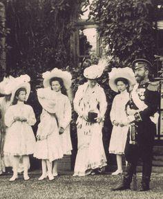 The last Romanov Imperial Family of Russia: Tsar Nicholas II, Empress Alexandra, Tsarevich Alexei, Grand Duchess Olga, Grand Duchess Tatiana, Grand Duchess Marie, and Grand Duchess Anastasia.