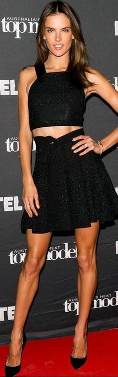 Who made  Alessandra Ambrosio's black cropped top, patent pumps, and skirt that she wore  in Sydney on October 2, 2014