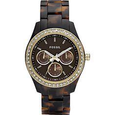 Fossil Women's ES2795 Stella Tortoiseshell-Tone Resin Watch with Link Bracelet - http://dressfitme.com/fossil-womens-es2795-stella-tortoiseshell-tone-resin-watch-with-link-bracelet/