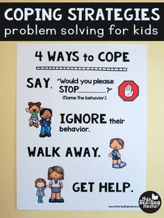 Strategies - FREE Problem Solving Chart for Kids Coping Strategies - Problem Solving for Kids - FREE Poster from This Reading MamaCoping Strategies - Problem Solving for Kids - FREE Poster from This Reading Mama Social Emotional Activities, Quiet Time Activities, Classroom Behavior, Preschool Classroom, Kindergarten, Emotions Preschool, Calm Classroom, Behaviour Management, Classroom Management