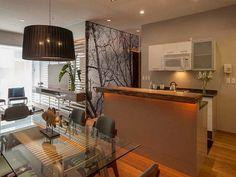 cuisine américaine avec bar ouverte sur la salle et le salon