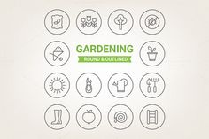 Circle gardening icons by miumiu on Creative Market