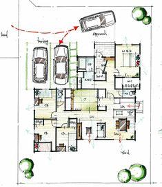 風通しに配慮した平屋 Low Cost Housing, Architecture Plan, House Layouts, Decoration, Living Spaces, House Plans, Floor Plans, How To Plan, House Styles