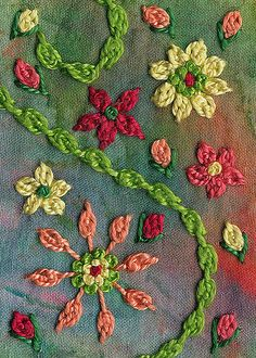 """Tulip Stitch Sampler - says: """"This was stitched on an old paint rag scrap ironed onto fusible Peltex. Tulip Stitch is a variation of Detached Chain Stitch. Hand Embroidery Stitches, Crewel Embroidery, Embroidery Techniques, Beaded Embroidery, Cross Stitch Embroidery, Embroidery Patterns, Machine Embroidery, Art Du Fil, Brazilian Embroidery"""