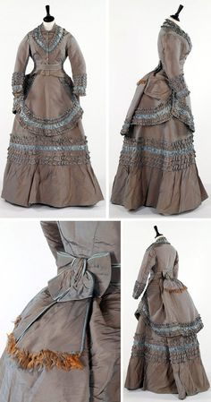 Day dress, Grandes Magasins du Louvre (retailer), ca. late 1870s. Gray-blue shot silk with belt and apron overskirt. Kerry Taylor Auctions