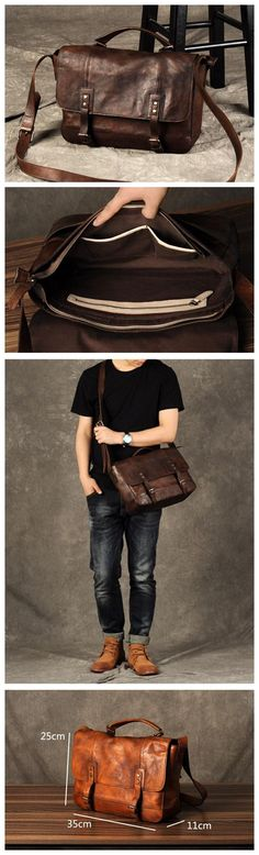 HANDMADE GENUINE LEATHER SHOULDER BAG, LEATHER BRIEFCASE GZ001