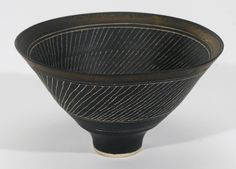 lucie rie porcelain bowl with manganese glaze and sgraffito design - sothebys ""