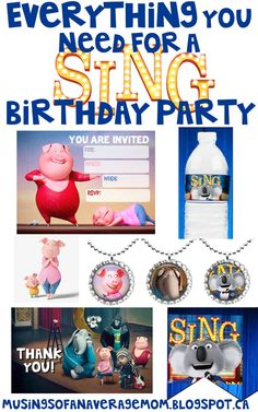 Everything you need for a SING birthday party including tons of free printables ! 6th Birthday Parties, Baby Birthday, Birthday Ideas, Rockstar Birthday, Sing Movie, Lorie, Rock Star Party, Movie Themes, Disco Party