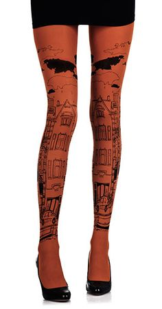 Tights!! You can even get canal house tights!! Amsterdam Print Tights Orange & Black