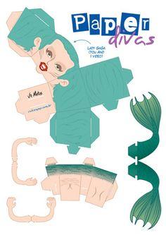 paperdivas – Rabisco Pop - Página 14 3d Paper Crafts, Paper Toys, Lady Gaga, Meat Dress, Paper Divas, Paper Folding, Game Character, Jumping Jacks, Music