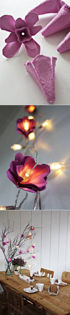 How to Make Beautiful Flower Lights from Egg Cartons #craft #decor #recycle