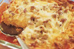America's Test Kitchen- waffle and maple sausage breakfast casserole.