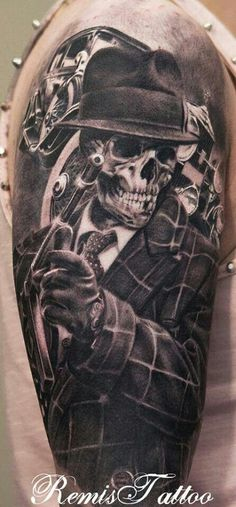 Gangster skull tattoo