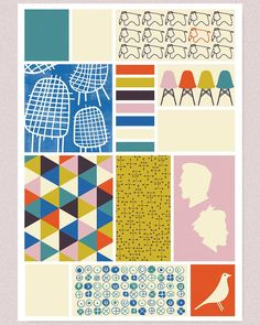 A2 poster. #charlesandrayeames #Eames #RayandCharlesEames #design #chairs #furniture #interiordesign #eameshouse #eamesoffice #modern #modernism #colour #colourpalette #elephants #triangles #shape #poster #vector #illustration by benfarr_art