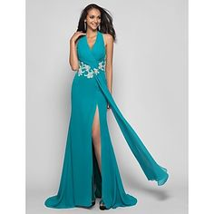 TS Couture® Prom / Formal Evening / Military Ball Dress - Furcal Plus Size / Petite Sheath / Column Halter Sweep / Brush Train Chiffon with Beading – USD $ 109.99