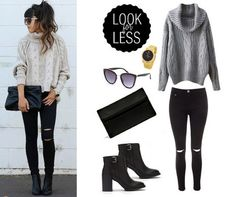 perfect casual fall outfit for under $150 // gray sweater, black skinnies, black boots and clutch