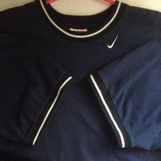 Vintage USA Made Blue Nike Ringer T-Shirt Sz XL Embroidered White Swoosh Nice! #Nike #GraphicTee