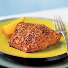 Sweet Orange Salmon | CookingLight.com - Eight ingredients combine in a spice rub that would also be good on pork tenderloin medallions. Serve this flavorful salmon dish with orange wedges.