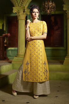 o of Dreamy yellow designer suit with pantsBook order or inquiry now call or whatsapp : ( ) 8866444471 smore fashion amaze launch rayon long kurti with designer jacket collection wholesalerAishwarya leading Online Sarees and Salwar Kameez Store for b Salwar Designs, Kurti Designs Party Wear, Blouse Designs, Latest Salwar Suit Designs, Designer Salwar Kameez, Party Wear Indian Dresses, Indian Outfits, Ladies Suit Design, Indian Designer Suits