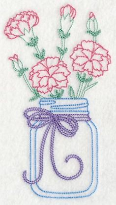 Embroidered Kitchen Towel Carnations in Mason Jar