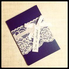 Navy & White Vintage Lace Wedding Invitation by StunningStationery, $350.00