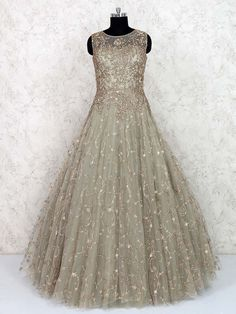 Gown Dress Party Wear, Long Gown Dress, Indian Wedding Gowns, Indian Gowns Dresses, Lehenga Gown, Anarkali, Latest Gown Design, Engagement Dress For Bride, Wedding Lehenga Designs