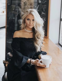 Black off shoulder Nordstrom fall outfit // blonde hair curls inspo // coffee shop photo inspo // instagram: @SheaLeighMills