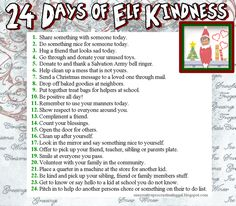24daysofelfkindness.png love this for this years elf on the shelf