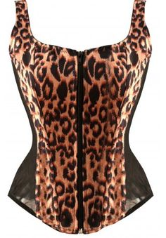 LEOPARD PRINT CORSET TOP - Sexy burlesque leopard print overbust corset is made of a soft and high-quality fabric, it has shoulder straps, black stretch mesh side panels, lace-up back and zip front closure. Bring out the animal in you as you roam. Corset Sexy, Corset Bustier, Burlesque Corset, Corset Outfit, Overbust Corset, Corset Tops, Corset Dresses, Burlesque Costumes, Bustiers
