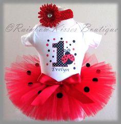 Birthday Ladybug Tutu Set, Ladybug Tutu, 1st Birthday Outfit | RBKDesigns - Clothing on ArtFire