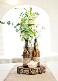 Log centerpices / wedding or home decor / rustic