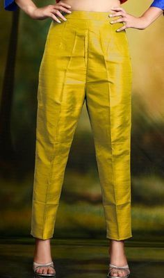 Golden Yellow Cigarette Pants Skinny Trousers - Silk Source by kimweideman pants Salwar Designs, Kurta Designs Women, Kurti Designs Party Wear, Silk Kurti Designs, Salwar Pants, Kurta With Pants, Plazzo Pants, Silk Pants, Blue Pants