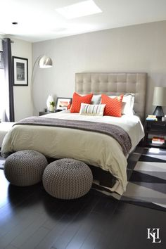 High Quality 60 Stylish Bachelor Pad Bedroom Ideas. Grey Orange ...