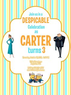 Despicable me Party - Invitation