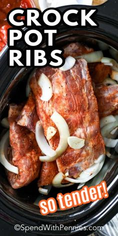 These easy BBQ Crock Pot Ribs come out melt in your mouth tender and are so full of flavor! These easy barbecue Crock Pot ribs couldn't be easier thanks to the slow cooker. We love serving them during weeknights! Slow Cooker Ribs Recipe, Slow Cooker Recipes, Cooking Recipes, Slow Cooker Ribs Easy, Budget Recipes, Rib Recipes, Easy Chicken Recipes, Dinner Recipes, Salad Recipes