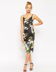 Image 4 of ASOS Hitchcock Pencil Dress In Black Based Floral Print- something to wear to a wedding
