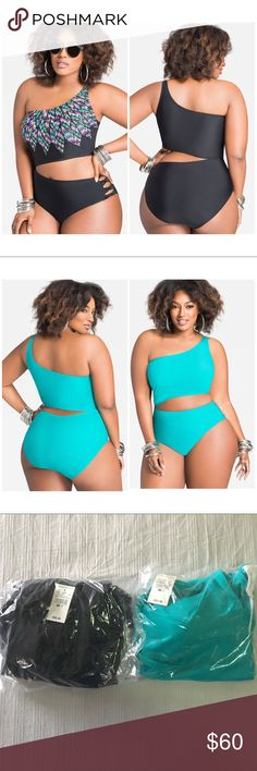 ONE-SHOULDER ASYMMETRICAL ONE PIECE ONE-SHOULDER ASYMMETRICAL ONE PIECE from Ashley Stewart. One in black with tribal print, the other tile blue. Both never worn, brand new! Ashley Stewart Swim One Pieces