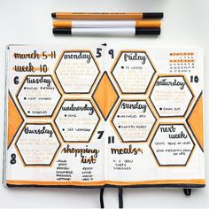 Last week was super busy so only just able to post my weekly spread! I am loving the geometric theme and these hexagons ▫️ ▪️ ▫️ ▪️ #bizzyb10doodles #bulletjournal #bullet #journal #bujo #drawing #doodle #doodles #leuchtturm1917 #tombow #2018 #march #colour #orange #tenthweek #week10 #weeklylog #shopping #nextweek #meals
