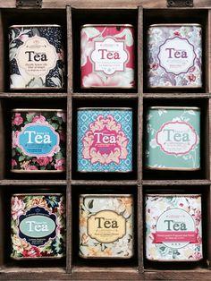 Pretty tea tins