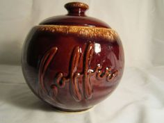 Hull Pottery Vintage  Brown Coffee Canister #coffeecanister