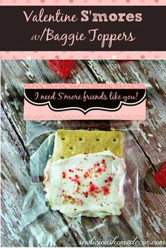 Valentine Smores with baggie toppers by sewlicioushomedecor.com  Valentine Smores Bars with Baggie Toppers Printable