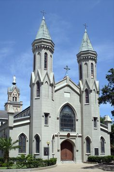 Mary's Cathedral is the oldest existing church building in Galveston, Texas, and the oldest Cathedral in the entire state of Texas. The building was constructed in 1847 Cathedral Basilica, Cathedral Church, Religious Architecture, Church Architecture, Galveston Island, Galveston Texas, Old Churches, Catholic Churches, Houses Of The Holy