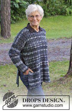 Women - Free knitting patterns and crochet patterns by DROPS Design T-shirt Au Crochet, Pull Crochet, Crochet Jumper, Knit Cardigan Pattern, Crochet Gratis, Free Crochet, Knitting Patterns Free, Free Knitting, Crochet Patterns