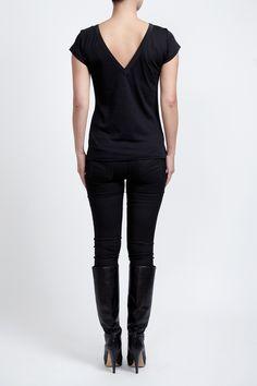 Black 100% Supima cotton reversible T-shirt