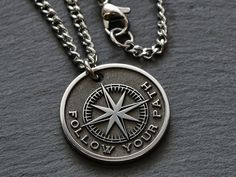 Custom Engraved Necklace, Personalized Necklace, Thoughtful Gifts For Her, Gifts For Him, Men Necklace, Rose Necklace, Compass Necklace, Compass Rose, Engraved Gifts