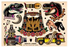Jurassic tattoo flash set Art Print
