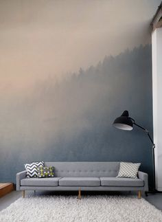 Gaze across the treetops with the beautifully hazy wall mural.