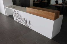 High and low, wood contrast Corian Thistle Desk Scotland SEPA Offices Aberdeen