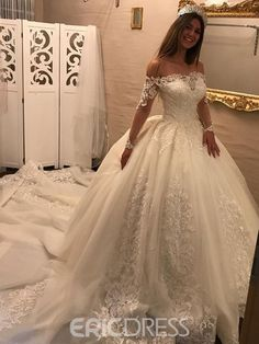 Ericdress Off The Shoulder Long Sleeves Ball Gown Appliques Wedding Dress|Embellishments:Appliques|Material:Tulle