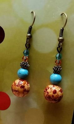 Copper Orange and Blue Spring Dangles by BSODesigns on Etsy